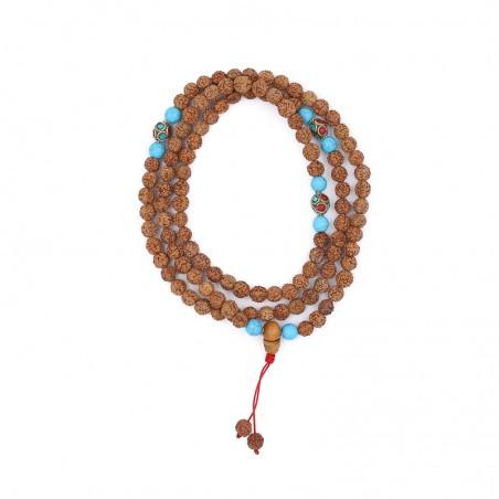 Mala tibétain en graines de rudraksha et howlite bleue - Colliers malas tibétains