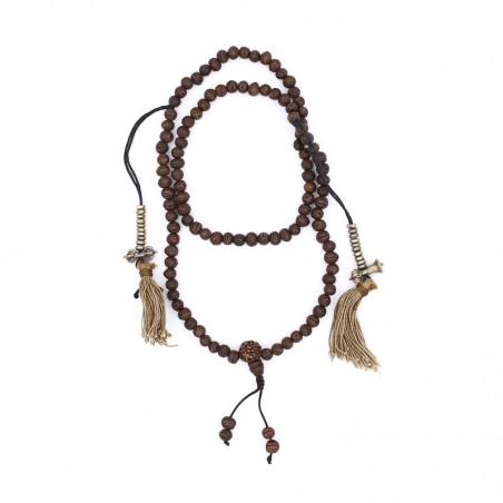 Collier mala tibétain en graines de banian - Colliers malas tibétains