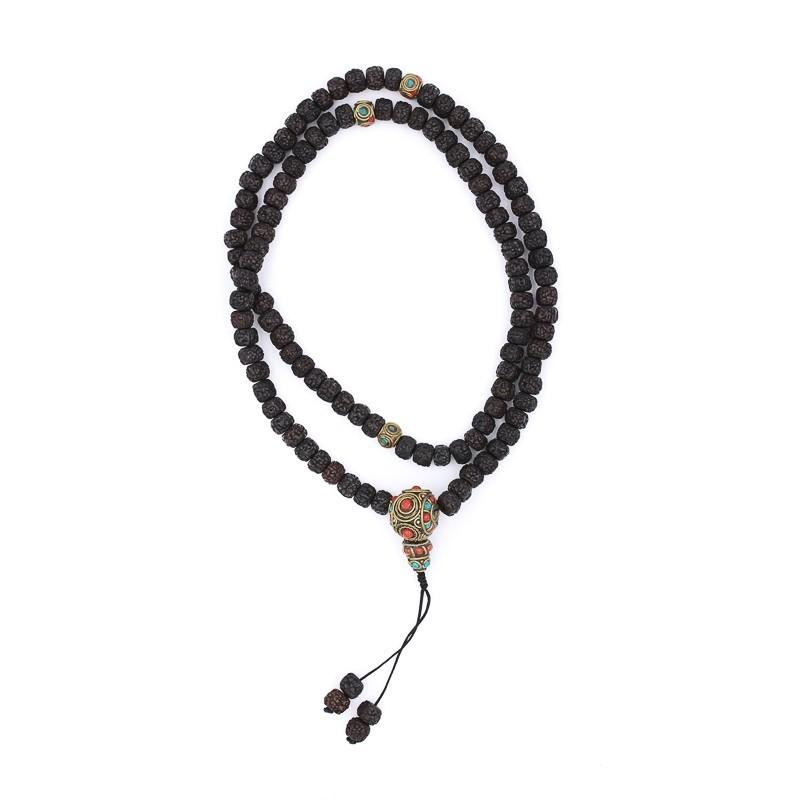 Collier en graines de rudraksha polies de couleur sombre
