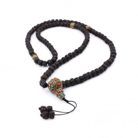 Collier en graines de rudraksha polies de couleur sombre - Colliers malas tibétains