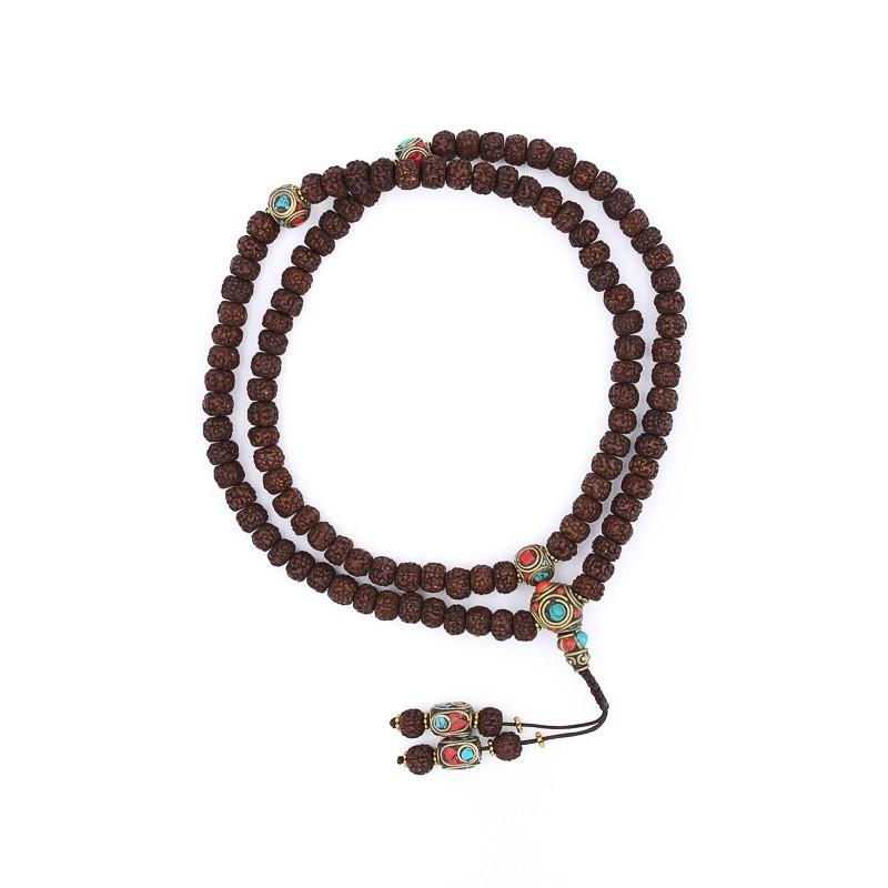 Collier mala tibétain en graines de rudraksha polies