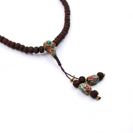 Collier mala tibétain en graines de rudraksha polies - Colliers malas tibétains