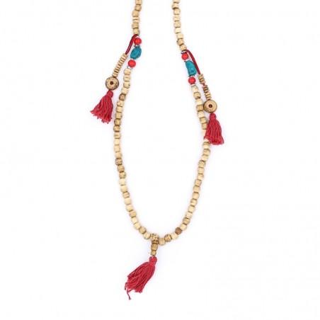 Collier mala tibétain en perles d'os couleur crème - Colliers malas tibétains