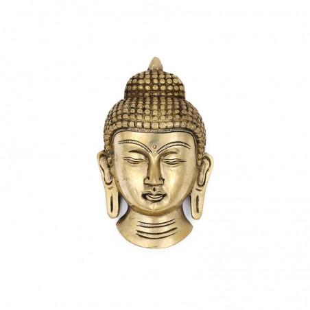 Masque de bouddha mural en laiton - Statues bouddhistes