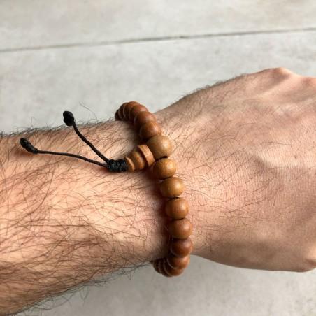Bracelet mala tibétain en perles de bois de santal - Bracelets malas tibétains