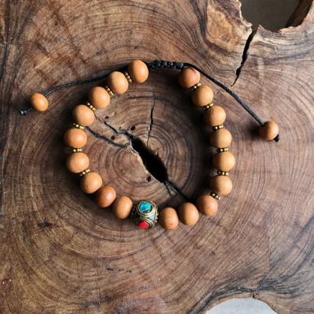 Bracelet en bois de santal et perle tibétaine - Bracelets malas tibétains