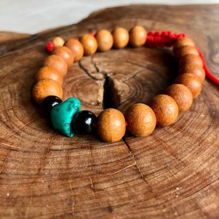 Bracelet en bois et pierre turquoise - Bracelets malas tibétains