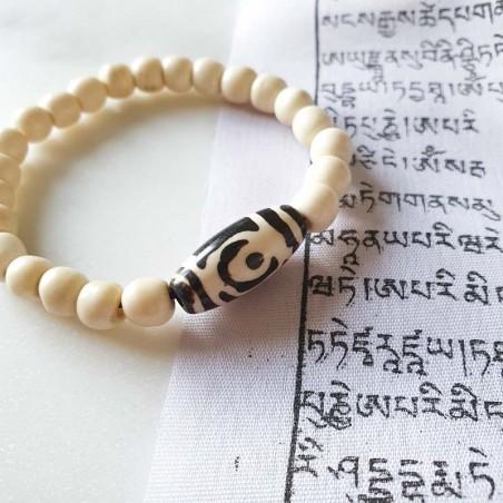 Bracelet en perles d'os et pierre dzi - Bracelets malas tibétains