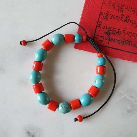 Bracelet mala tibétain en pierre turquoise et corail - Bracelets malas tibétains