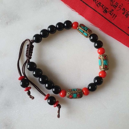 Bracelet fantaisie en perles rouges et noires - Bracelets malas tibétains