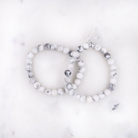 Bracelet howlite blanche - Bracelets en pierres naturelles