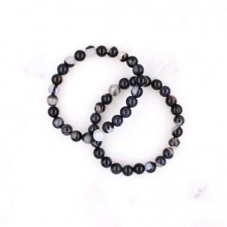 Bracelet agate noire zonée - Bracelets en pierres naturelles
