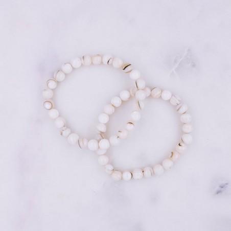 Bracelet coquillage blanc - Bracelets en pierres naturelles