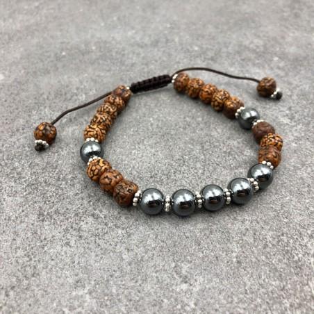 Bracelet mala tibétain en hématite et graines de rudraksha - Bracelets malas tibétains