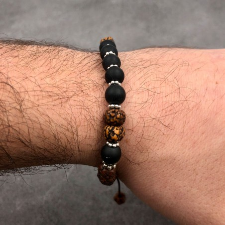 Bracelet en perles de shaligram et graines de rudraksha polies - Bracelets malas tibétains