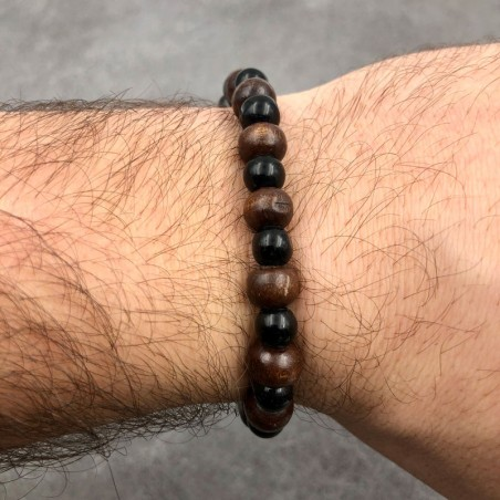 Bracelet de perles en os noir et résine marron - Bracelets malas tibétains