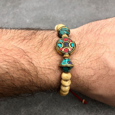 """Bracelet """"Parwanipur"""" en perles d'os couleur crème - Bracelets malas tibétains"""