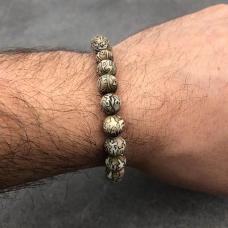 Bracelet coquillage gravé - Bracelets malas tibétains