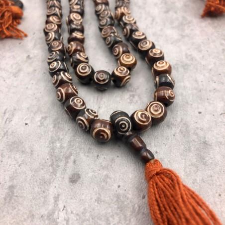 Collier mala tibétain en perles d'os motif oeil de pigeon - Colliers malas tibétains