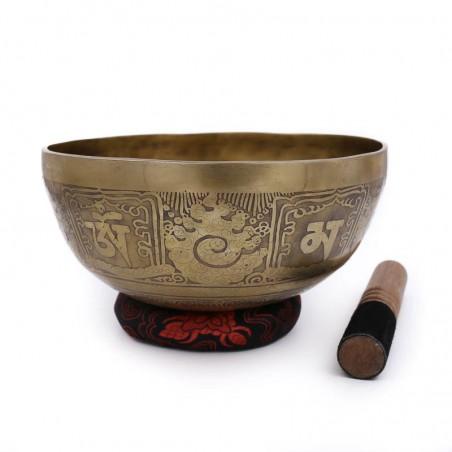 Bol tibétain chantant gravé - DO_diese_EC1429g230mm240 - Bols tibétains 7 métaux gravés
