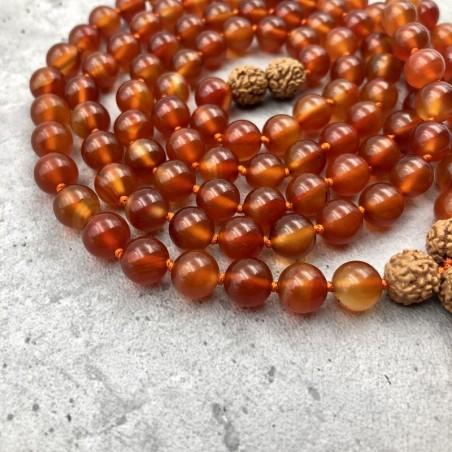 Mala tibétain en pierre cornaline orange et rudraksha - Colliers malas tibétains