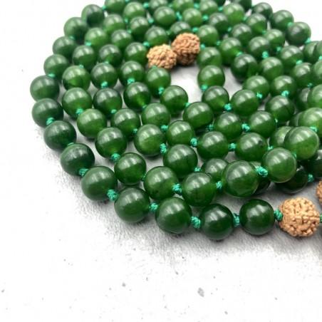 Mala tibétain en pierre jade néprite et rudraksha - Colliers malas tibétains