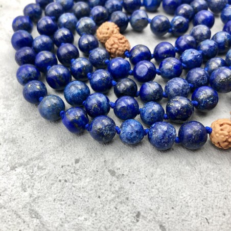 Mala tibétain en pierre lapis-lazuli et rudraksha - Colliers malas tibétains