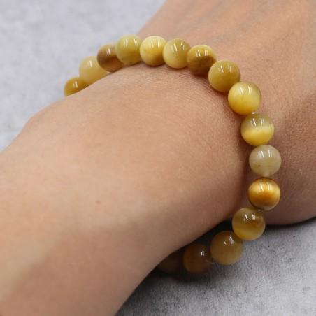 Bracelet oeil de tigre doré - Bracelets en pierres naturelles