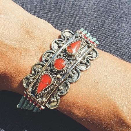 Bracelet Bhavisya - Bracelets tibétains en turquoise et corail