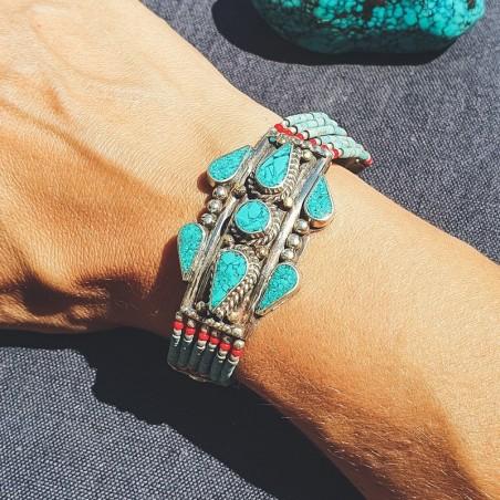 "Bracelet tibétain ""Firoza akasa"" - Bracelets turquoise et corail"