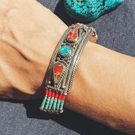 "Bracelet ""Firoza prema"" - Bracelets turquoise et corail"