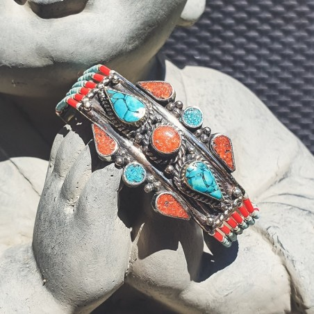 "Bracelet ""Pemako mithasa"" - Bracelets turquoise et corail"