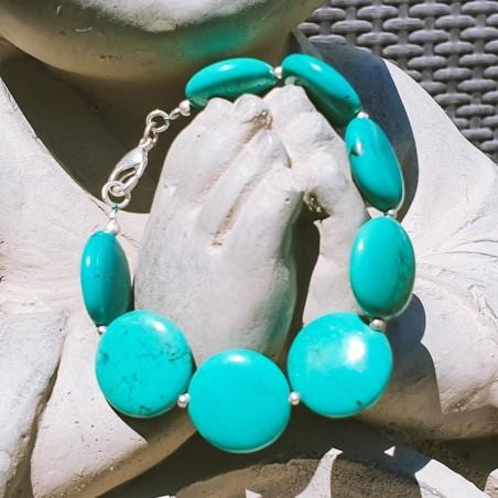 """Bracelet tibétain """"Firoza golo"""" - Bracelets turquoise et corail"""