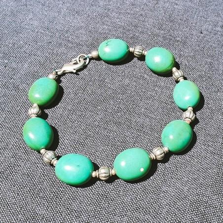"""Bracelet """"Firoza"""" en pierres turquoises - Bracelets turquoise et corail"""
