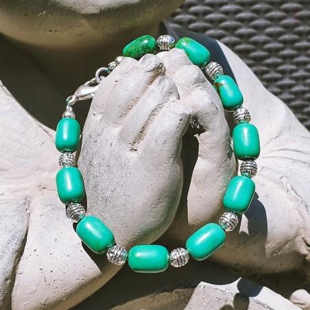 "Bracelet tibétain ""Mero maya"" - Bracelets turquoise et corail"