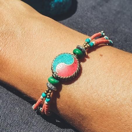 """Bracelet tibétain """"Rato yin yang"""" - Bracelets turquoise et corail"""