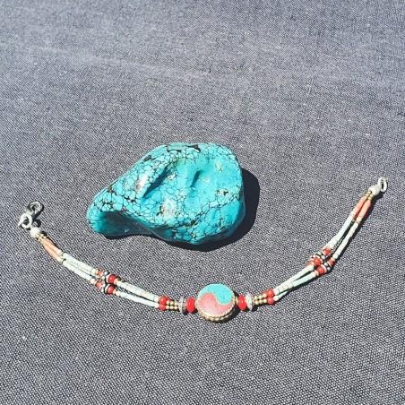 Bracelet Yin Yang tibétain - Bracelets turquoise et corail