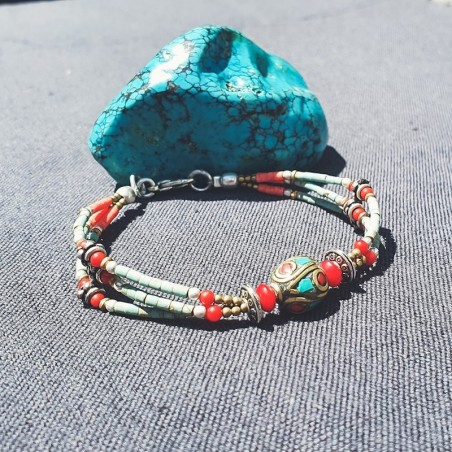 "Bracelet tibétain ""First dream"" - Bracelets turquoise et corail"