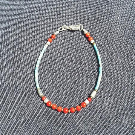 """Bracelet tibétain """"Jeunesse"""" - Bracelets turquoise et corail"""