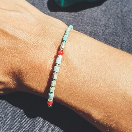 """Bracelet tibétain """"Tendresse"""" - Bracelets turquoise et corail"""