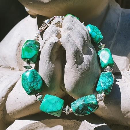 Akasiya firoza - Bracelet tibétain en pierres de turquoises - Bracelets turquoise et corail