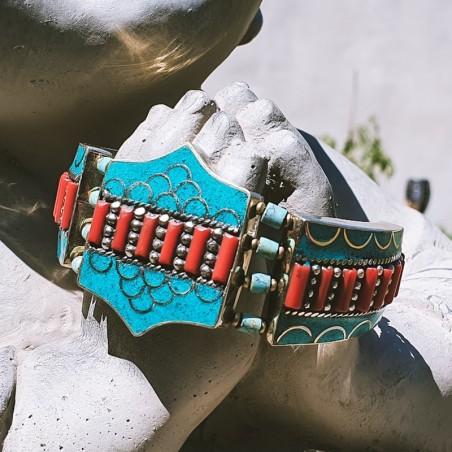 """Bracelet """"Mero gaon"""" - Bracelets turquoise et corail"""