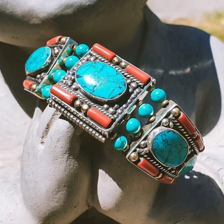 """Bracelet """"Sapai manche"""" - Bracelets turquoise et corail"""