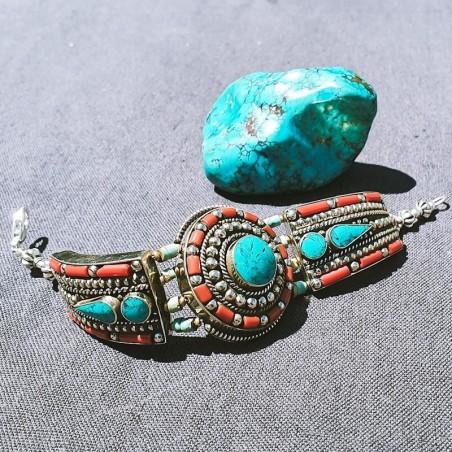 """Bracelet """"Timro sundara amkha"""" - Bracelets turquoise et corail"""