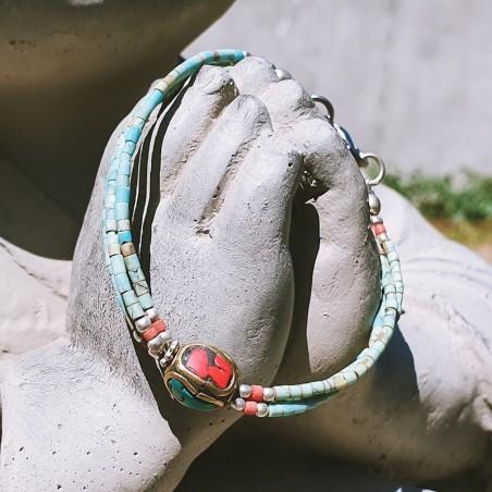 "Bracelet ""Sanu maya"" - Bracelets turquoise et corail"