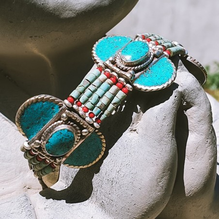 "Bracelet ""Ratama sundara"" - Bracelets turquoise et corail"