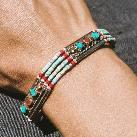 "Bracelet ""Mero srimati"" - Bracelets turquoise et corail"