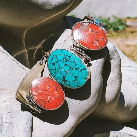 "Bracelet ""Sano sundarata"" - Bracelets turquoise et corail"