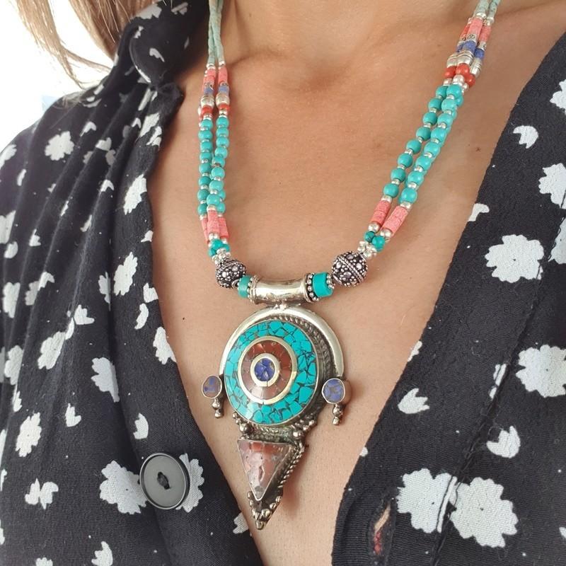 Tenzing - Collier tibétain en turquoise et corail