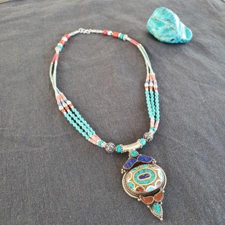 Pumo - Collier tibétain en turquoise et corail - Colliers tibétains
